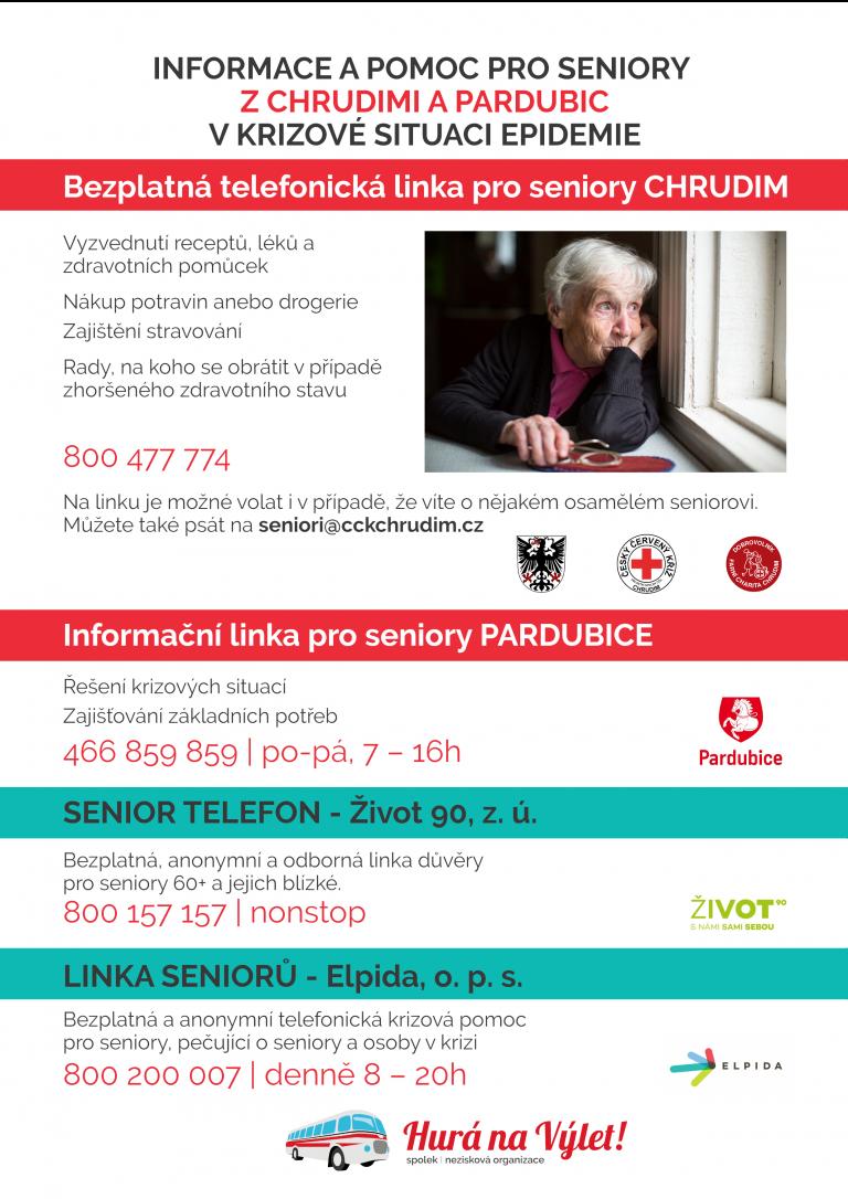 Informace a pomoc pro seniory z Chrudimi a Pardubice během epidemie.